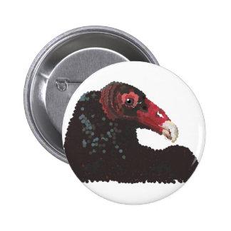 Vulture Head Pointillism Button