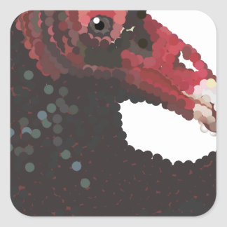 Vulture Head Pointillism Square Sticker