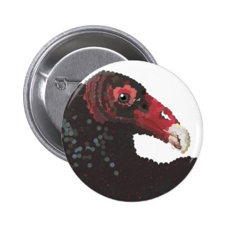 vulture head pointillized pinback buttons