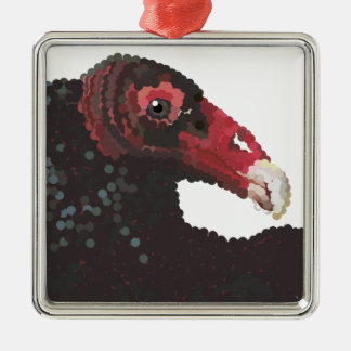 vulture head pointillized metal ornament