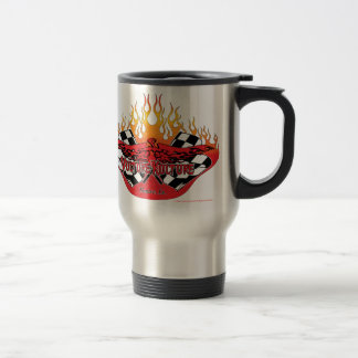 Vulture Kulture logo with flames and flags mug
