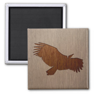 Vulture silhouette engraved on wood design 2 inch square magnet