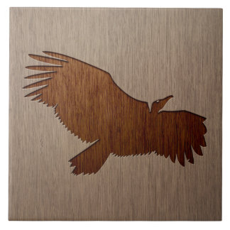 Vulture silhouette engraved on wood design large square tile