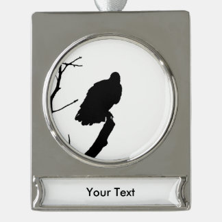 Vulture Silhouette Love Bird Watching Raptors Silver Plated Banner Ornament