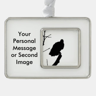 Vulture Silhouette Love Bird Watching Raptors Silver Plated Framed Ornament