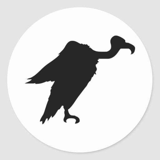 Vulture Silhouette Round Stickers