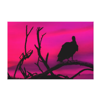 Vultures at Top of Tree Silhouette Illustration Canvas Print
