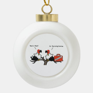 Vultures Carrion Carry-on Luggage Cartoon Ceramic Ball Christmas Ornament