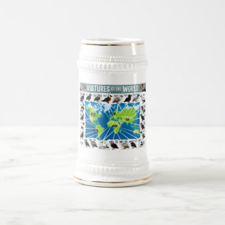 Vultures of the World Map Beer Stein