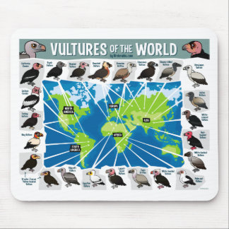 Vultures of the World Map Mouse Pad