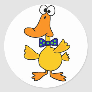 VV- Funny Duck in a Blue Polka Dot Bow Tie Cartoon Classic Round Sticker