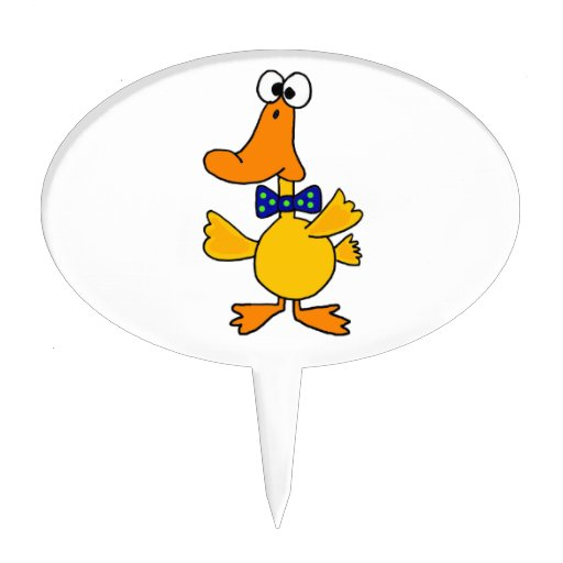VV- pato divertido en un dibujo animado azul de la Figuras Para Tartas