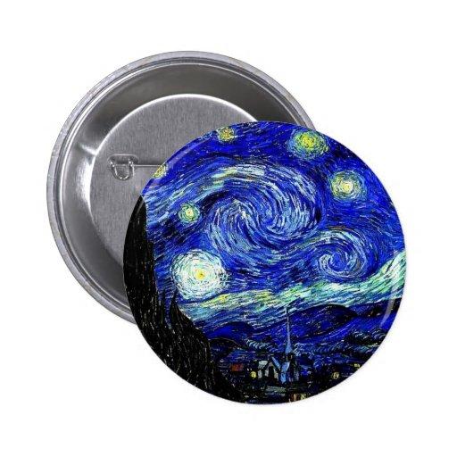 vVan Gogh Starry Night Fine Art 2 Inch Round Button