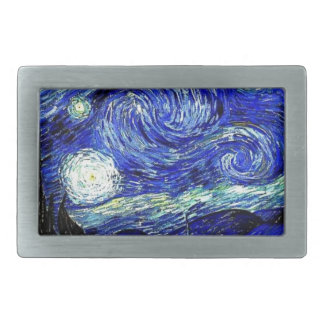 vVan Gogh Starry Night Fine Art Rectangular Belt Buckle
