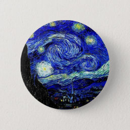 vVan Gogh Starry Night Fine Art Pinback Button
