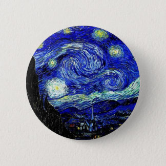 vVan Gogh Starry Night Fine Art Pinback Button