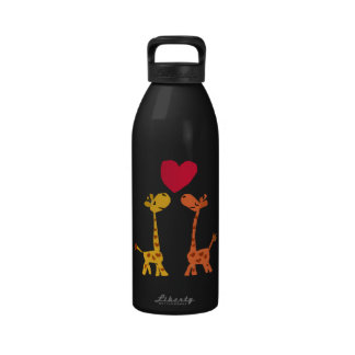 VW dibujo animado divertido del amor de la jirafa Botella De Agua Reutilizable