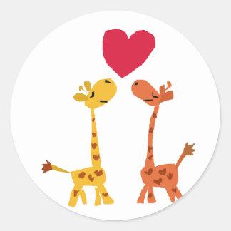 VW dibujo animado divertido del amor de la jirafa Pegatina Redonda