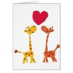 VW dibujo animado divertido del amor de la jirafa Tarjeton