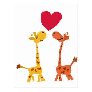VW dibujo animado divertido del amor de la jirafa Tarjeta Postal