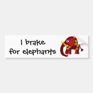 VW- Elephant and Daisies Primitive Art Car Bumper Sticker