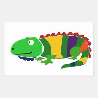 VW- Funky Primitive Art Iguana Rectangular Sticker