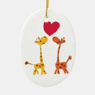 VW- Funny Giraffe Love Cartoon Ceramic Ornament