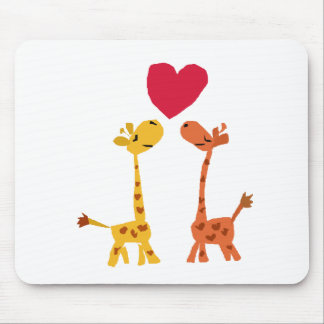 VW- Funny Giraffe Love Cartoon Mouse Pad