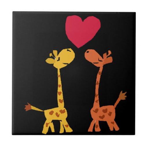 VW- Funny Giraffe Love Cartoon Tiles