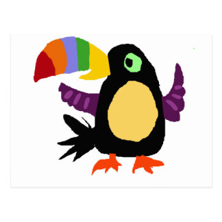 VW- Funny Toucan Bird Primitive Art Postcard