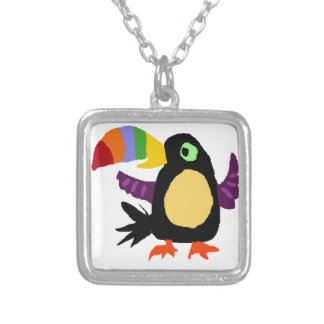 VW- Funny Toucan Bird Primitive Art Silver Plated Necklace