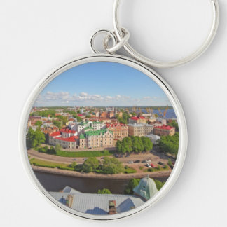 Vyborg Russia Leningrad Oblast from Olaf Tower Silver-Colored Round Keychain