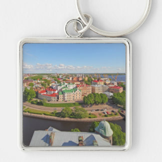 Vyborg Russia Leningrad Oblast from Olaf Tower Silver-Colored Square Keychain