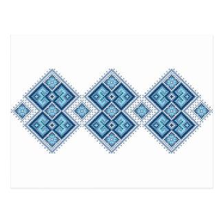 Vyshyvanka ucraniano del azul del bordado postales