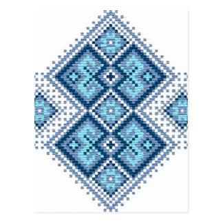 Vyshyvanka ucraniano del azul del bordado tarjeta postal
