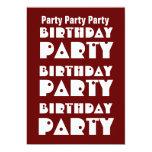 W1009 marrón y blanco de la fiesta de cumpleaños invitación 12,7 x 17,8 cm