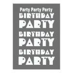 W1010 gris y blanco de la fiesta de cumpleaños invitación 12,7 x 17,8 cm