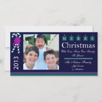 W1 Candy Cane Navy Blue Xmas Greeting Photo Cards