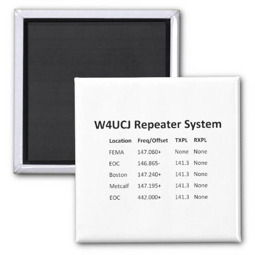 W4UCJ Repeater System Magnet