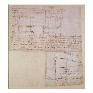W.23r Architectural sketch with notes Poster