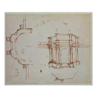 W.24r Architectural sketch Poster