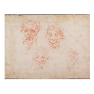 W.33 Sketches of satyrs' faces Postcard