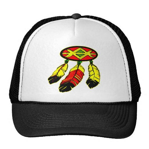 w/ 3 Feathers Mesh Hat