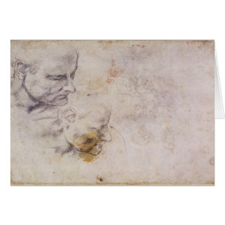 W.60 Sketch of a male head, in two positions Card
