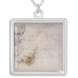 W.60 Sketch of a male head, in two positions Silver Plated Necklace