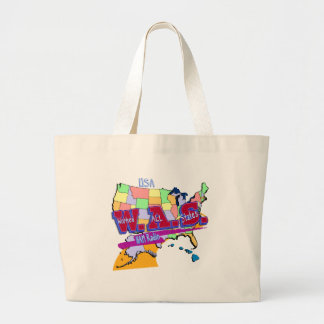 W.A.S. HAM RADIO WORKED ALL STATES LARGE TOTE BAG