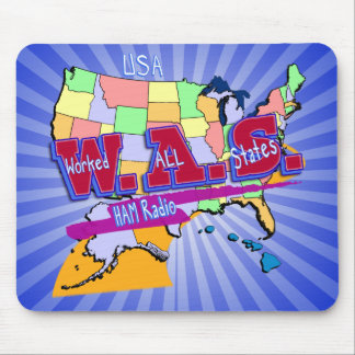 W.A.S. HAM RADIO WORKED ALL STATES MOUSE PAD