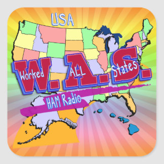 W.A.S. HAM RADIO WORKED ALL STATES SQUARE STICKER