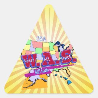 W.A.S. HAM RADIO WORKED ALL STATES TRIANGLE STICKER