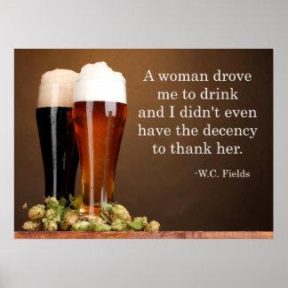 W.C. Cita de la cerveza de los campos Póster